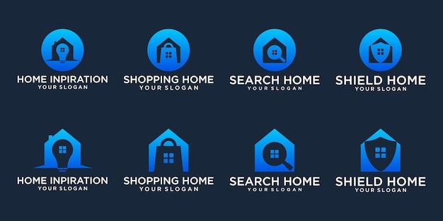 Imposta logo negozio acquista vendita logo pacchetto icona vettore premium