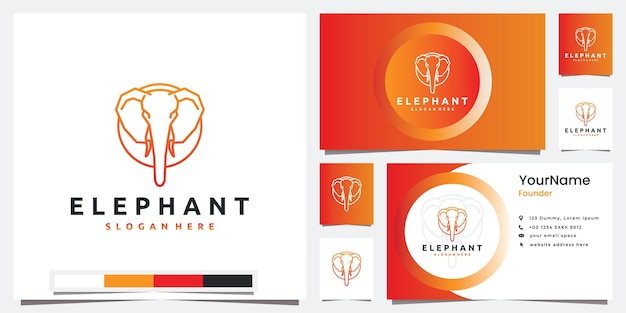 Imposta la tecnologia del logo con l'ispirazione per il design del logo in stile arte linea testa di elefante