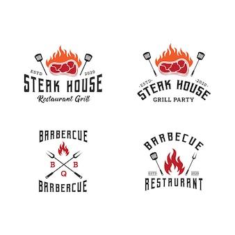 Set di logo modello barbecue, barbecue e grill, emblema della steak house