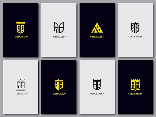 Imposta il modello del logo con le lettere iniziali ab