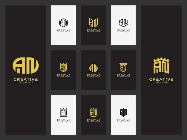 Imposta il modello del logo con le lettere iniziali an