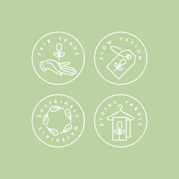 Set di loghi, distintivi e icone per una produzione ecologica e prodotti biologici. design del segno sicuro di eco. simbolo dell'accumulazione della produzione naturale certificata di vestiti.