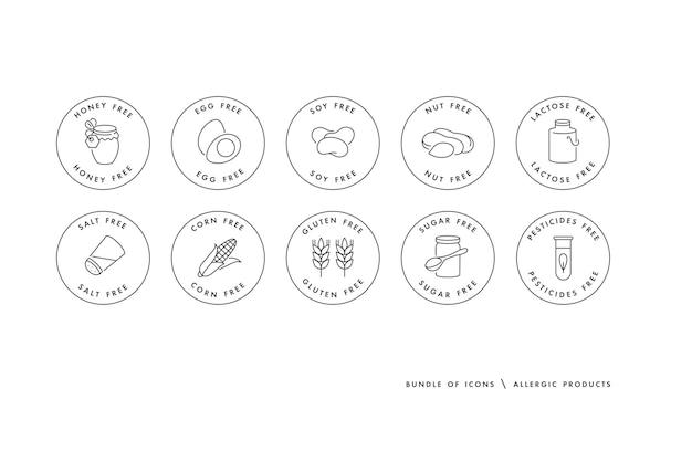 Set di loghi, distintivi e icone per prodotti naturali e biologici