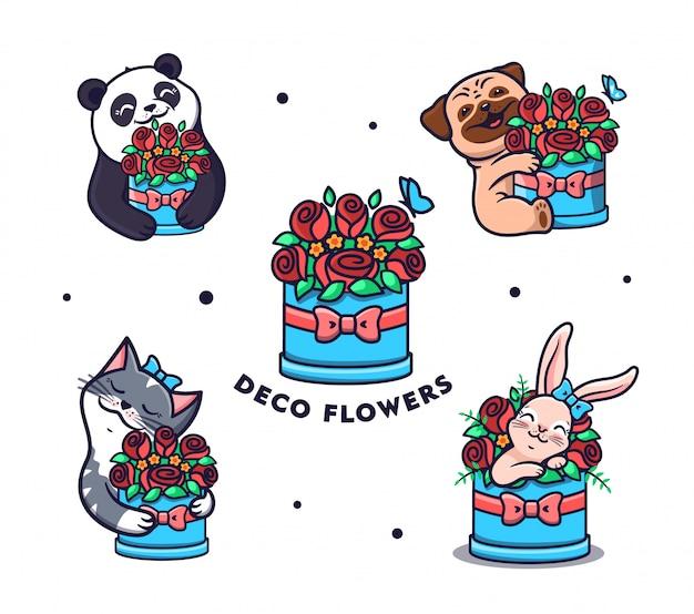Set di loghi fiori con animali. collezione divertente cartone animato panda, gatto, cane e coniglio