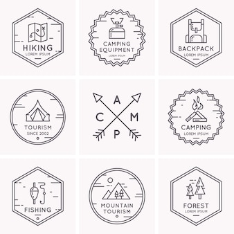 Set di loghi e simboli per il campeggio e l'escursionismo