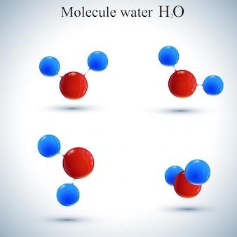 Set di acqua icona logotipo. molecola modello per medicina, scienza, tecnologia, chimica, biotecnologia