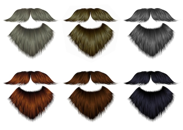 Impostare barba lunga e baffi di diversi colori. stile di bellezza alla moda.