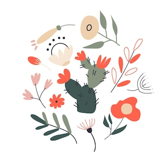 Insieme di molte foglie, piante e fiori esotici tropicali differenti