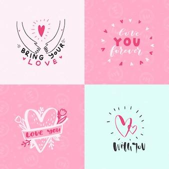 Set delle carte di espressioni d'amore