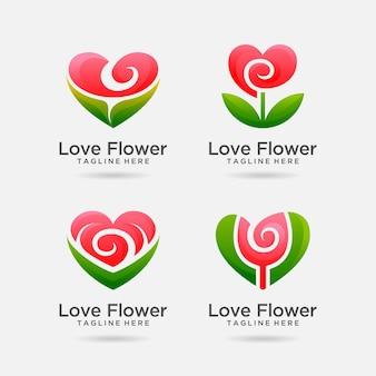 Set di design del logo del fiore dell'amore
