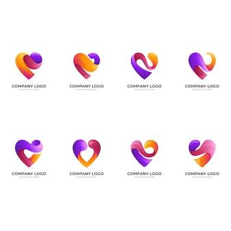 Impostare il modello di logo di amore con stile colorato 3d