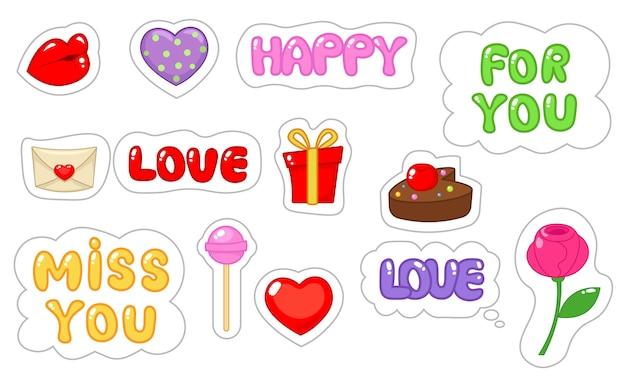 Set di adesivi amore. stile piatto e cartone animato.
