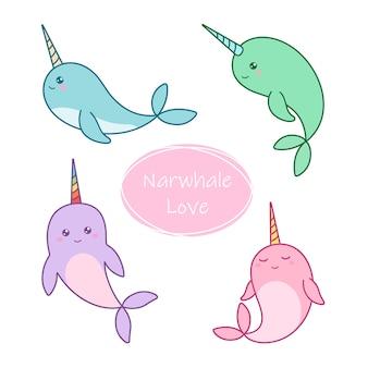 Set di adorabili narvali