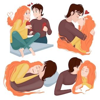 Set di una coppia di innamorati in un abbraccio per il giorno di san valentino