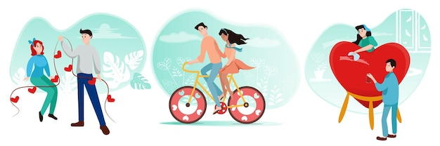Set di coppie di innamorati in stile cartone animato che si preparano per il giorno di san valentino