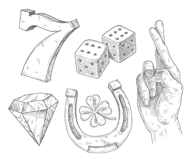 Imposta simboli fortunati. illustrazione nera monocromatica da cova vintage. isolato su bianco