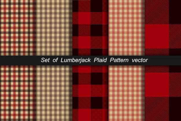 Set di pattern plaid boscaiolo. plaid del boscaiolo e motivi di controllo del bufalo. fantasia scozzese scozzese e motivi a quadretti.