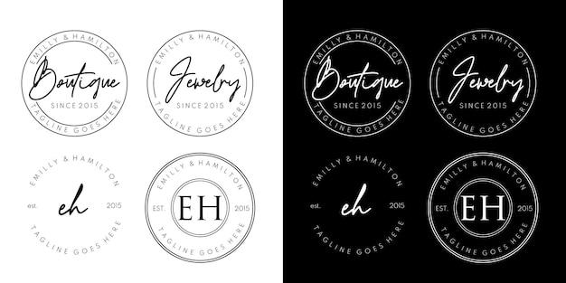 Set logo di gioielli boutique timbro cerchio di lusso
