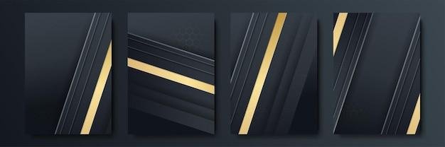Set di modelli di copertina di lusso. copertina vettoriale per cartelloni, striscioni, volantini, presentazioni e cartoline. collezione di sfondo astratto nero e oro