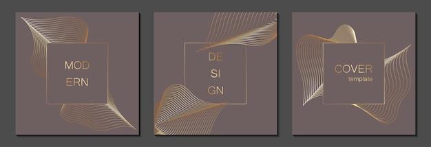 Set di modelli di copertina di lusso. copertina vettoriale per cartelloni, striscioni, volantini, presentazioni e biglietti