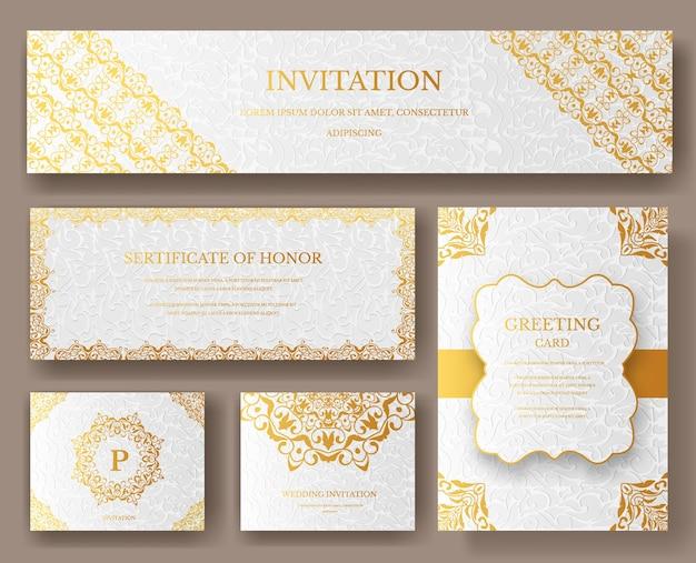 Set di pagine artistiche di lusso oro con modello di brochure logo