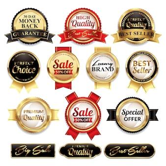 Set di etichette di qualità con distintivi d'oro di lusso