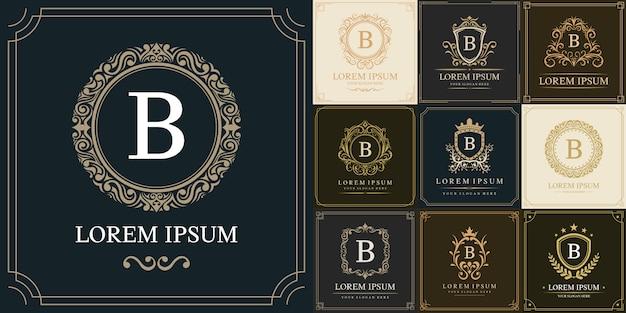 Set di modello logo di lusso, lettera iniziale tipo b