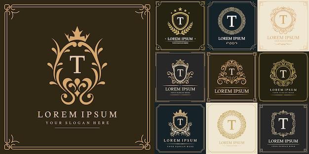 Set di modello di logo di lusso, lettera iniziale tipo t