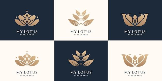 Set di modello di progettazione di logo di loto di lusso design creativo di rosa di loto vettore premium
