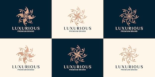 Set di loto spa di lusso logo design branding
