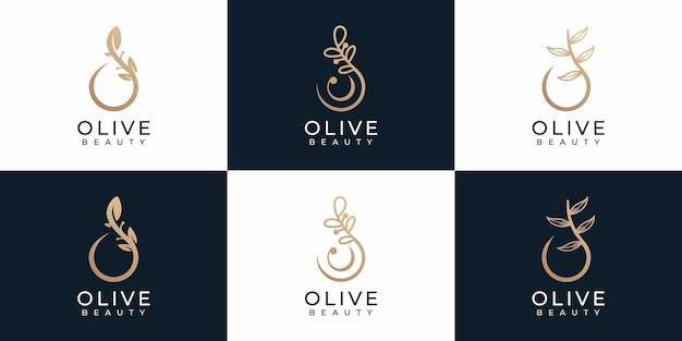 Set di elementi del logo di bellezza oliva di natura minimale di lusso per il branding