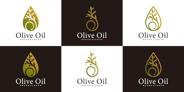 Set di modello di progettazione del logo dell'albero di olio d'oliva di lusso con uno stile artistico di linea unico vettore premium