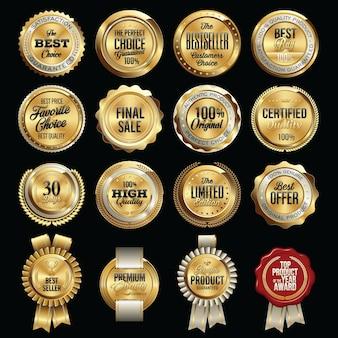 Set di badge di qualità di vendita di lusso. tag.