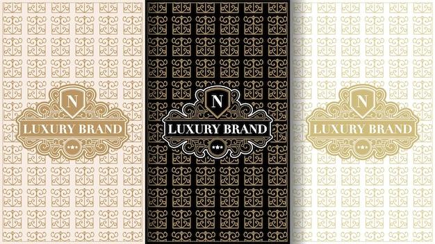 Set di etichette vintage di lusso con logo e cornice per l'imballaggio del prodotto della scatola del prodotto e della baia