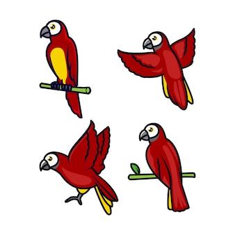 Set di mascotte uccello ara volare e in piedi al ramo di un albero
