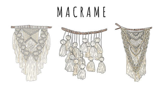 Set di appendiabiti da parete in stile bohémien macramè doodle. elementi di design boho di annodatura tessile. immagine knotwork autentica moderna lineare indigena
