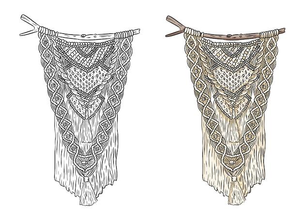 Set di etichette in stile boho macramè. elementi di disegno di annodatura tessile. appendiabiti da parete indigeni moderni semplici mono lineari