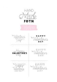 Set fatto font felice giorno di san valentino