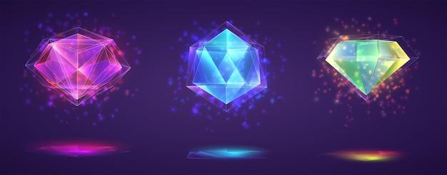 Set di cristalli magici. gemma rifinita arcobaleno luminoso