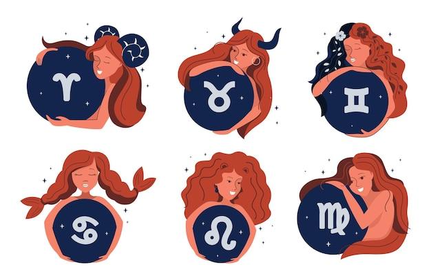 L'insieme dei simboli magici della ragazza e dello zodiaco. il personaggio dei cartoni animati è buono per l'astrologia, gli oroscopi, le costellazioni, ecc. la collezione stilizzata e illustrazione vettoriale