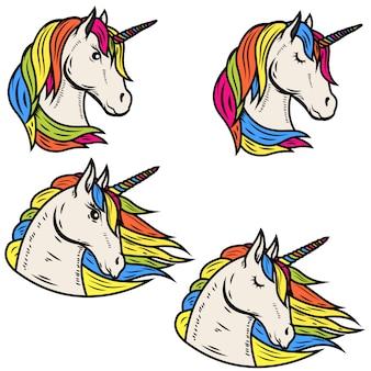 Insieme delle illustrazioni magiche dell'unicorno su fondo bianco. elementi per emblema, distintivo, etichetta, segno. illustrazione