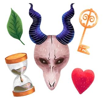 Una serie di illustrazioni magiche in oggetti di streghe procreate, una maschera con le corna dal teschio di una capra, una chiave, una foglia, un cuore, una clessidra, spaventoso