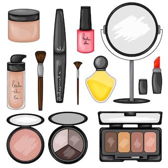 Set di illustrazione di cosmetici per il trucco