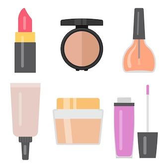 Set di articoli per il trucco. smalto per unghie, crema per la pelle, rossetto, lucidalabbra, ombretti, tubetto cosmetico. illustrazione vettoriale.