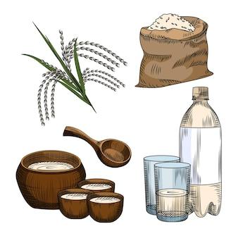 Set di makgeolli. vino di riso bevanda alcolica tradizionale coreana. borsa di riso, bottiglia di plastica, vetro, ceramica, ramo di riso isolato.