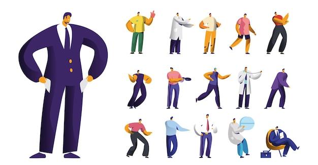 Set di personaggi maschili, uomo d'affari in bancarotta con tasche vuote, guanti da tifoso sportivo, dottore in medicina e ballerino