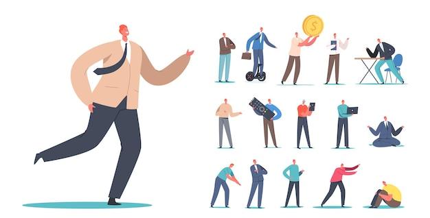 Set di personaggi maschili uomo d'affari fretta al lavoro, equitazione hoverboard, avendo idea con enorme lampadina, lavorare sul computer portatile, meditare, soldi isolati su sfondo bianco. cartoon persone illustrazione vettoriale