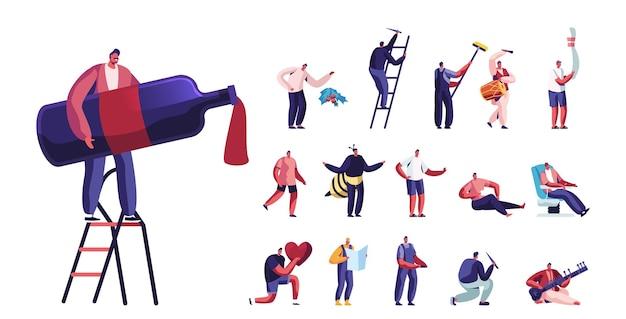 Set di personaggi maschili stile di vita, uomo minuscolo con un'enorme bottiglia di vino in piedi su una scala, parete dipinta, indossa un costume da ape