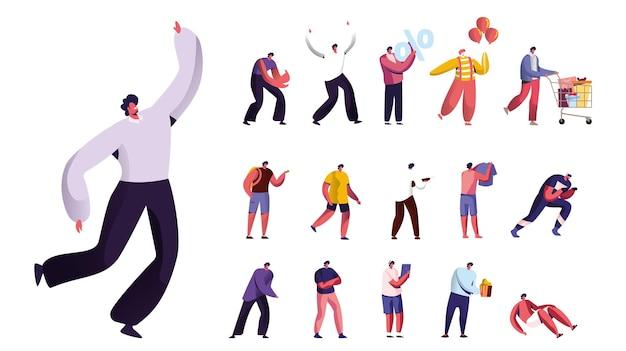 Set di personaggi maschili che fanno shopping con carrello, pagliaccio con palloncini, cliente con segno di percentuale, uomini in occhiali vr, gadget e fast food isolati su sfondo bianco. cartoon persone illustrazione vettoriale