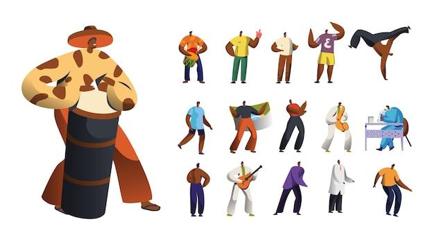Impostare personaggi maschili in abiti tradizionali che ballano, esibirsi in spettacoli di danza e musicali, uomini con bandiera, fan dello sport e dottore